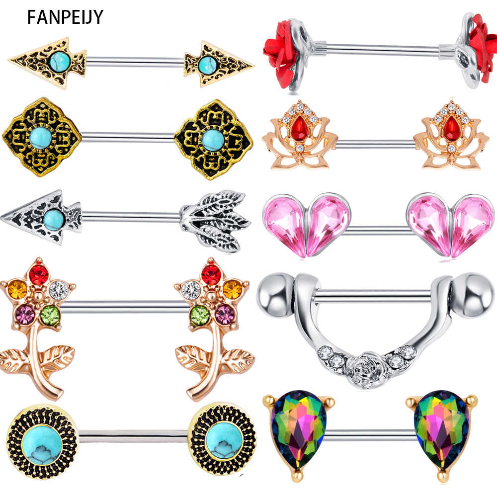 Fanpeijy 2pcs Woman Fashion Straght Nipple Barbell Ring Piercing Bar Nipple Shield Earring Cartilage Body jewelry Drop Shipping