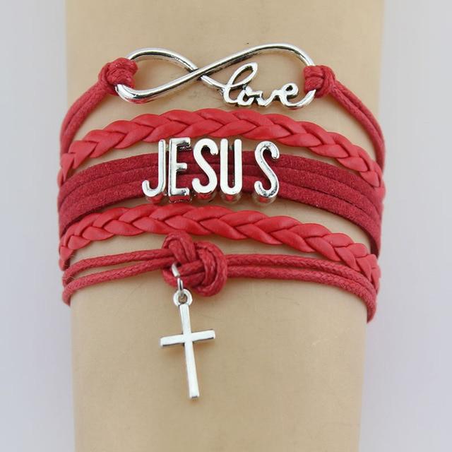 Hand knitted JESUS Christian Bible Cross Bracelet Braided Bracelet