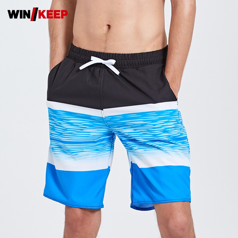 Summer New Swim Short Men Shorts Men Beach Printing Swimming Trunks For Bathing Blue Swim Shorts Mens Swimwear Outwear Pants