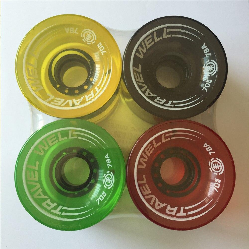 Monopatín profesional Longboard ruedas 70mm PU transparente diferentes colores larga rueda de tablero