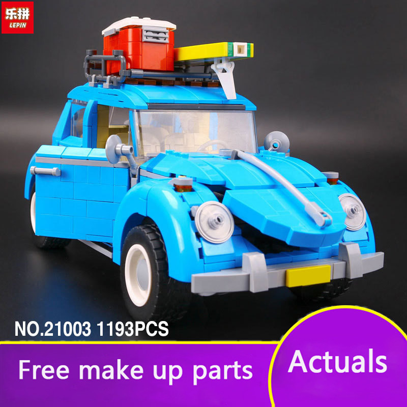 Lepin 21003 City Car Beetle Model Building Blocks Bricks Blue Car Toy Kid Gift Set MOC 10252 Compatible Technique Model LP052 lepin 21003 series city car beetle model building blocks blue technic children lepins toys gift clone 10252