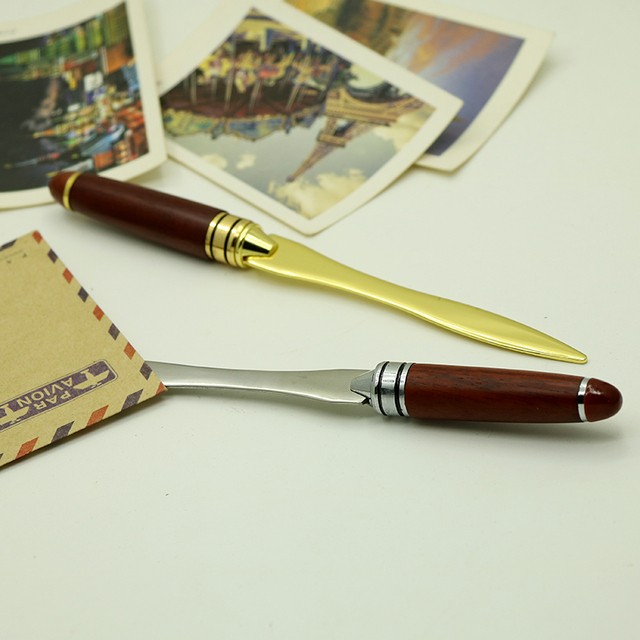 Retro Wood Handle Letter Opener Stainless Steel Letter Opening Gold Silver Color Briefopener