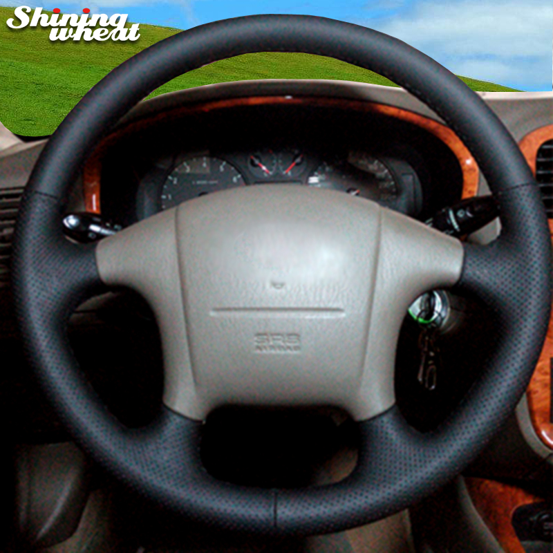 Shining wheat Hand-stitched Black Leather Steering Wheel Cover for Hyundai Sonata Old Sonata 2005