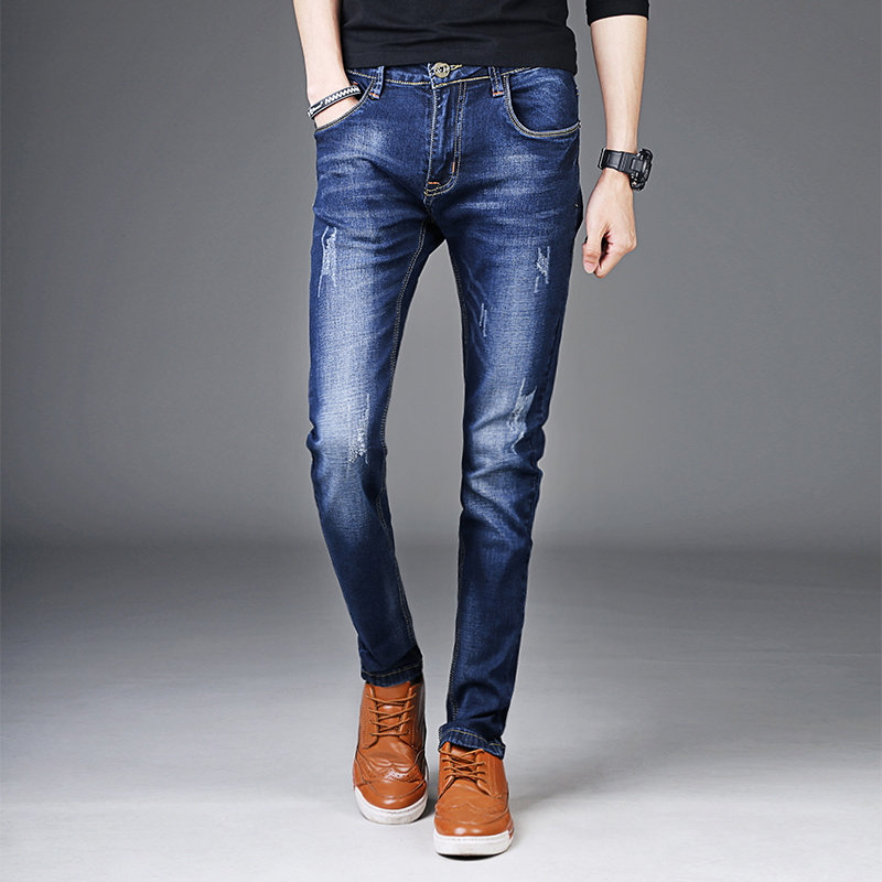 Mens Clothing Jeans 2017 Hot Blue Cotton Men Cowboy Trousers Fashion Business Casual Male Small Elastic Comfortable Pants 27-36