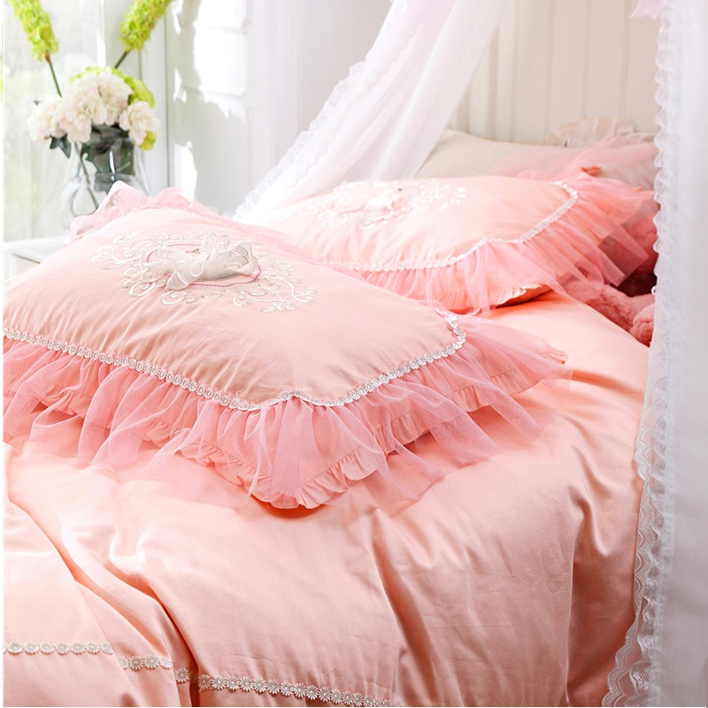 5 color designs princess lace style bedding set embroidery duvet cover bed sheet pillowcases bed linen king queen 4pcsin bedding sets from home