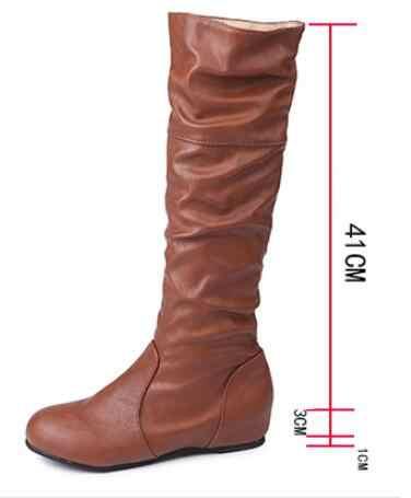 Kadın Uyluk yüksek Çizmeler Ayakkabı Kadın plise Taklit Kürk Kış Kar botları Deri Diz yüksek uzun kış botu kadın artı boyutu ST305