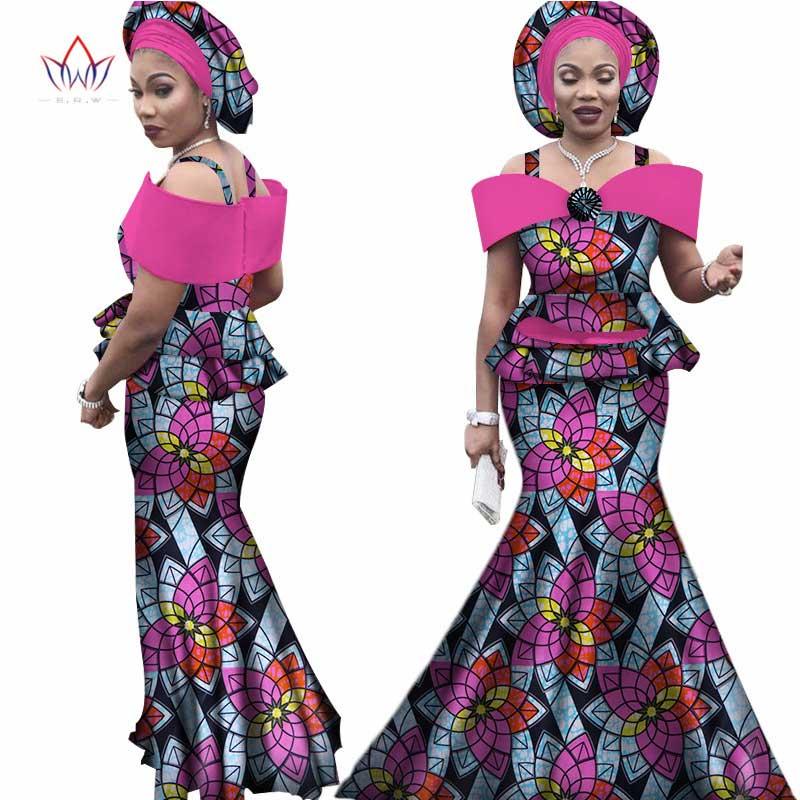 Casques africains gratuits pour femmes Dashiki grande taille vêtements africains Bazin manches courtes vêtements traditionnels africains WY3113