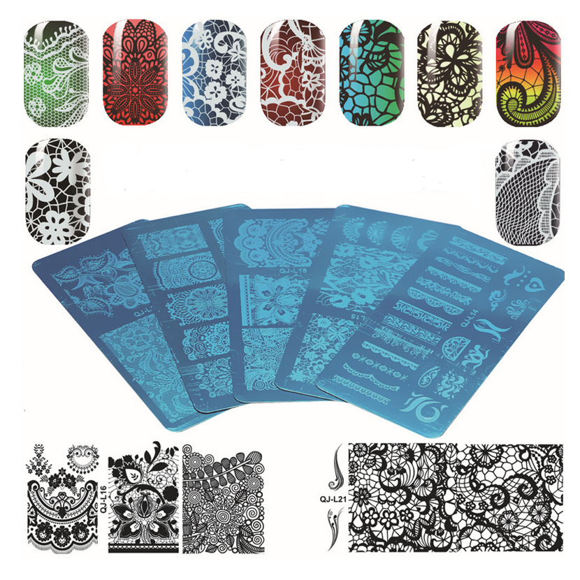 1Pc Rectangular Nail Stamping Plates Metal Steel Nail Printing Template Lace Series 10 Designs for Nail Art Decorations QJL13-22