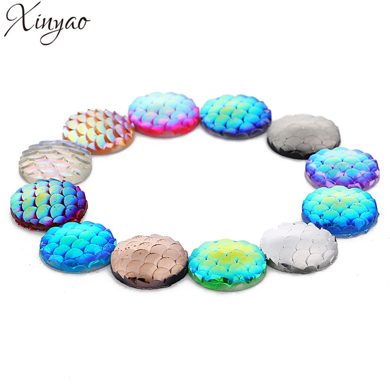 XINYAO 2019 20pc 12mm Fashion Fish Scale Style Cabochons Round Flat Resin Handmade Cabochons Cameo For DIY Jewelry Makings F7487