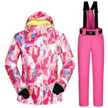 2017 New Winter -35 Degree Women Ski Suit Female Snowboarding Suits Waterproof 10K Super Warm Ski jacket + Pants Outdoor Sport