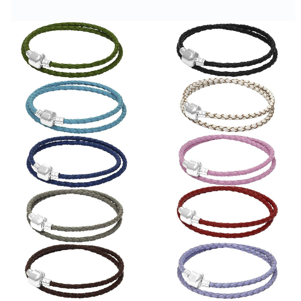 Men Women Braid Rope Bracelet Cow Leather Wristband Double Layer Bangles Charm Easy Clasps Bracelets Unisex Jewelry Accessories