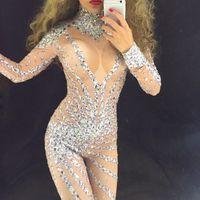 Silver Glisten Rhinestones Jumpsuit long Sleeves Stones Bodysuit Performance Party Celebrate luxurious Costume Dance Clothing