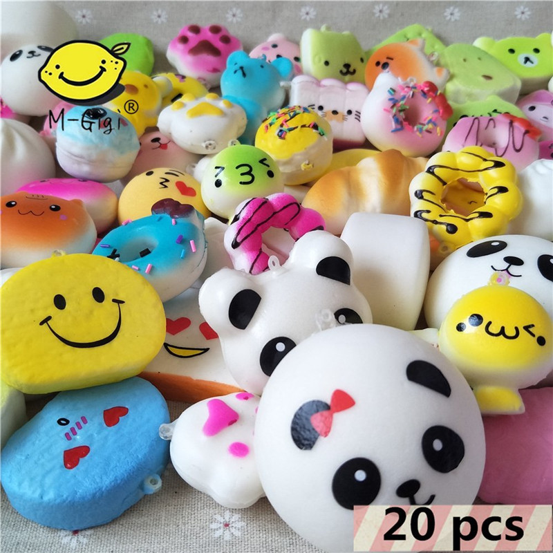20Pcs Squeeze Toys Random Squishy Cream Scented Slow Rising Kawaii Simulation Bread Children Toy,Soft Squishy Toys Phone Straps