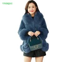 Women Woolen coat Female Imitation sheep shearing coat Autumn Winter New Korean of the cloak big fur collar slim Overcoat A1046