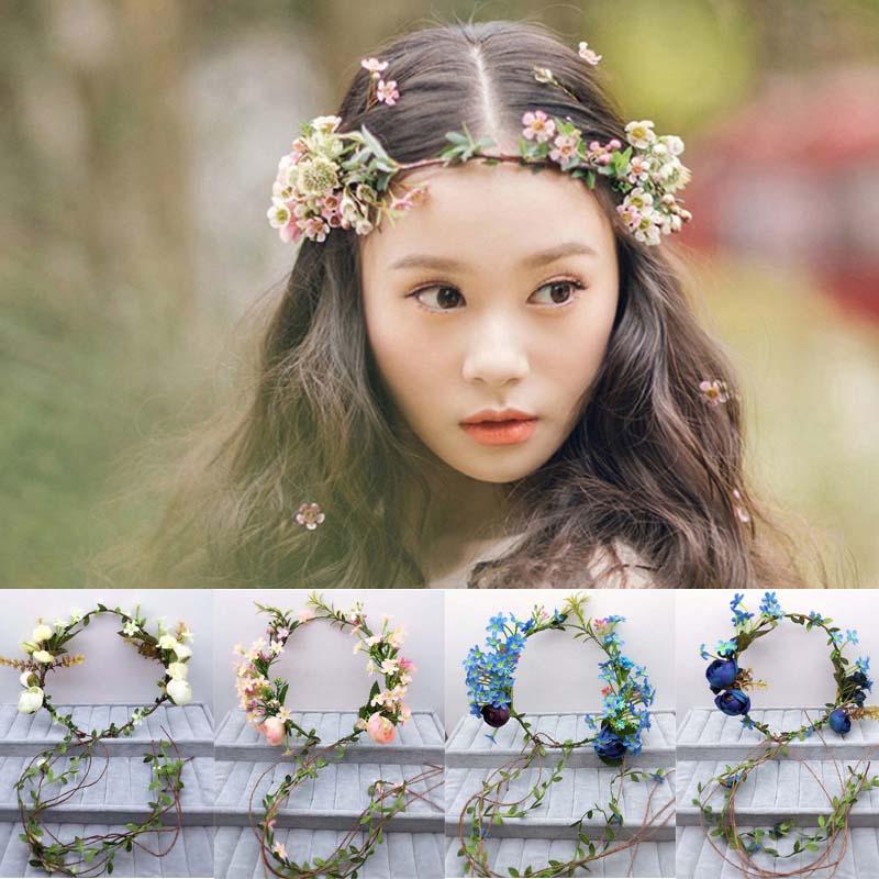 Ženske poročno cvetje venček neveste okrasni pokrivali Otroške zabave cvetlične girlande družice neveste las pas fotografijo nakit cvet