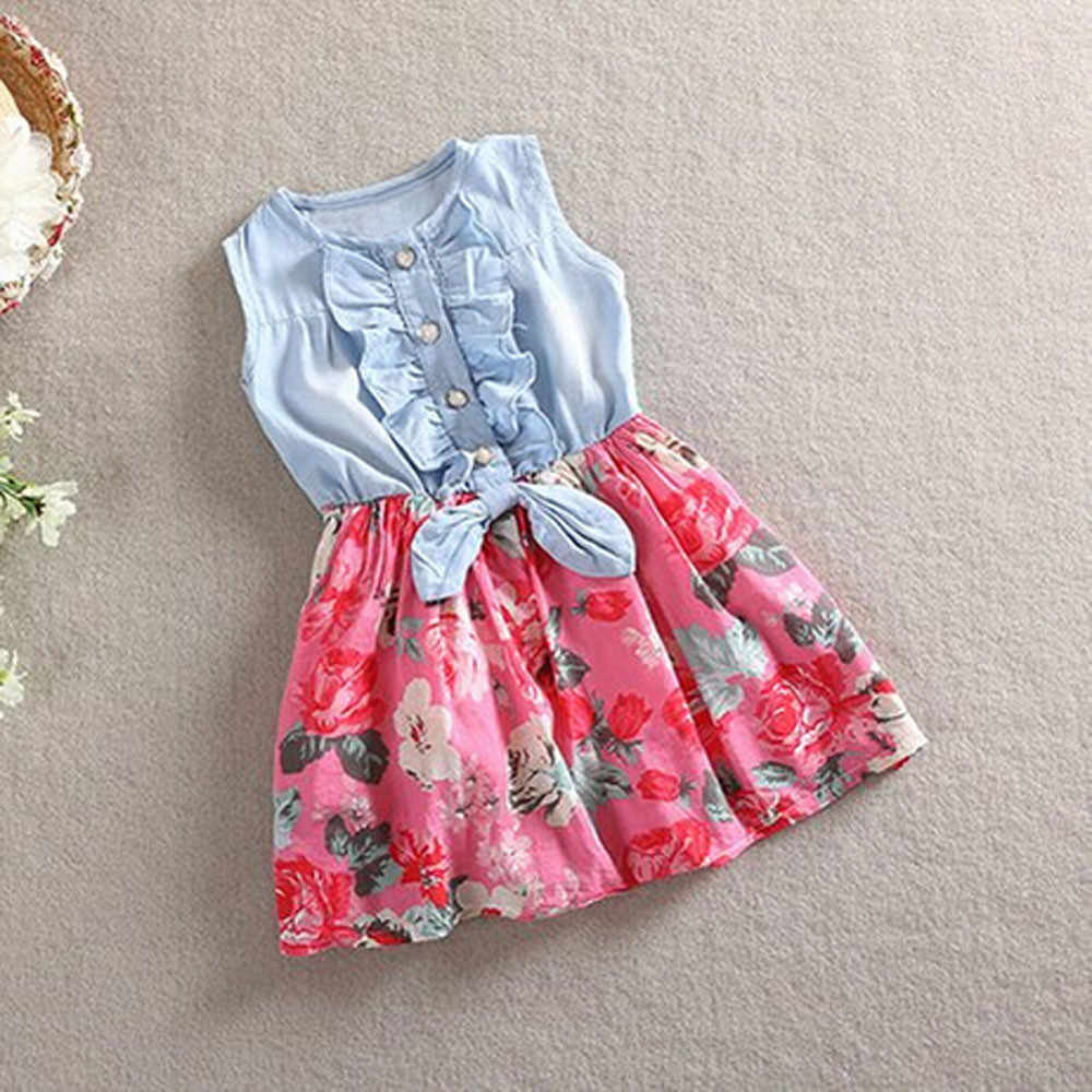 Toddler Kids Baby Girls Denim Bowknot Print Sleeveless Princess Party Dresses