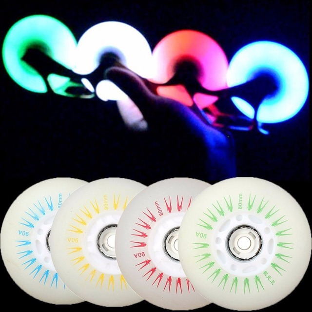 5 colori Lampeggianti di Luce Ruote Da Skate Roller Inline Scorrevole Flash PU Ruote Da Skate Roller 80mm 90A senza Cuscinetti