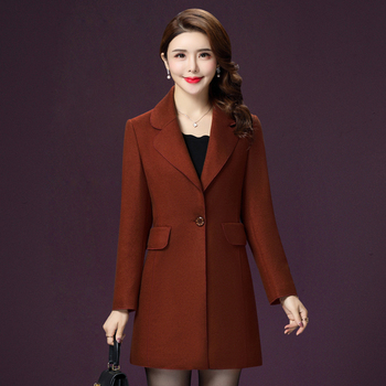 Autumn Gray Women Wool Coat The  New Style Winter Pure Color One Button And Xxxxl Designs Female Simple Fashion Slim Tops