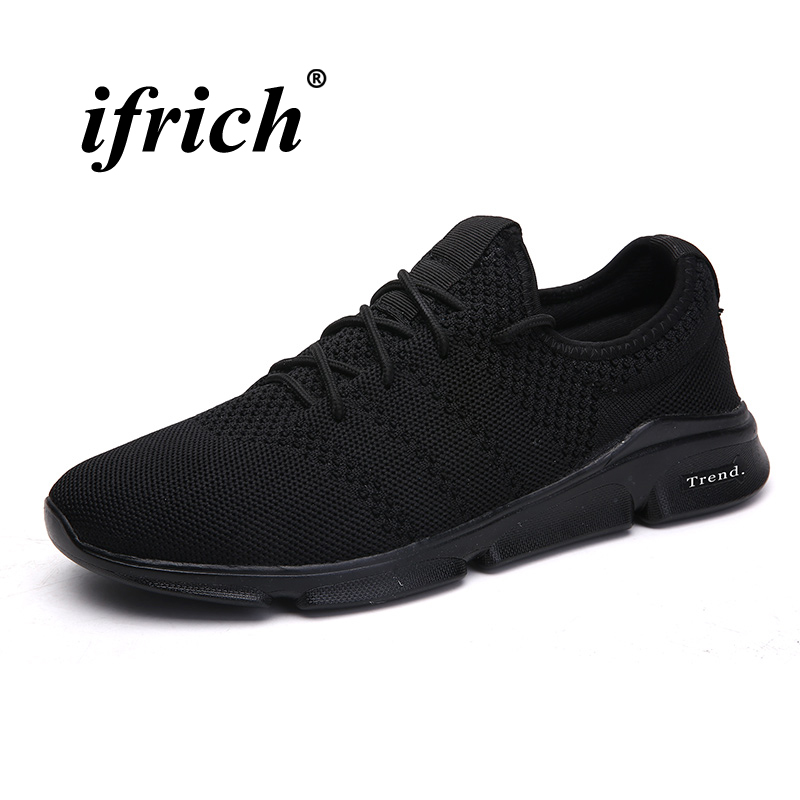 2018 Man Running Shoes Black Gray Tracking Shoes Mesh Man Sneakers for Sport Anti-slip Breathable Athletic Footwear Male
