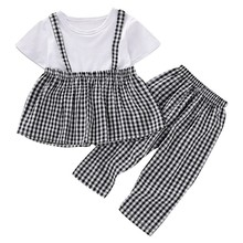 Lovely Children Newborn Girls Plaid Stitching Short T-shirt Round Collar Casual Tops+Pants 2pcs 0-5 Toddler Baby Clothes