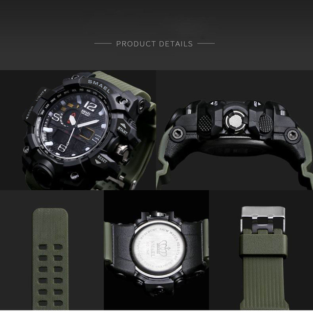 SMAEL Brand Camouflage Men's LED Sport Dual Display Waterproof Quartz Watches 2