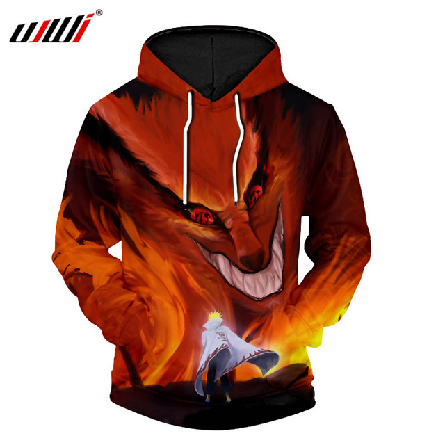 UJWI New Men Hooded Jacket Sweatshirt Fashion Cool Print Naruto Hoodie 3d Hoodie Hip Hop Harajuku Hooded Jacket