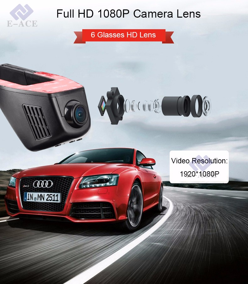 E-ACE Car Dvr WIFI DVRs Dual Camera Lens Registrator Dashcam Digital Video Recorder Camcorder Full HD 1080P 30FPS Night Version 5