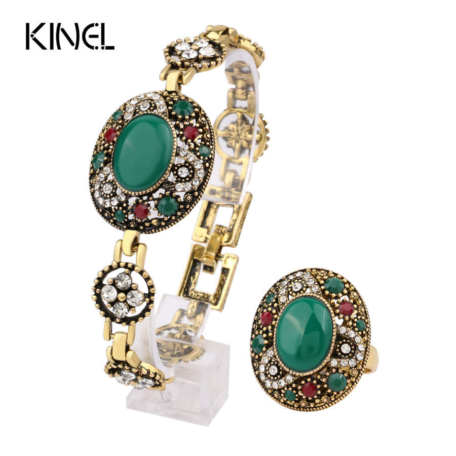 Kinel Brands Turkey Jewelry Sets Bracelets And Rings For Women Gold-Color Oval Main Stone Crystal Party Gifts