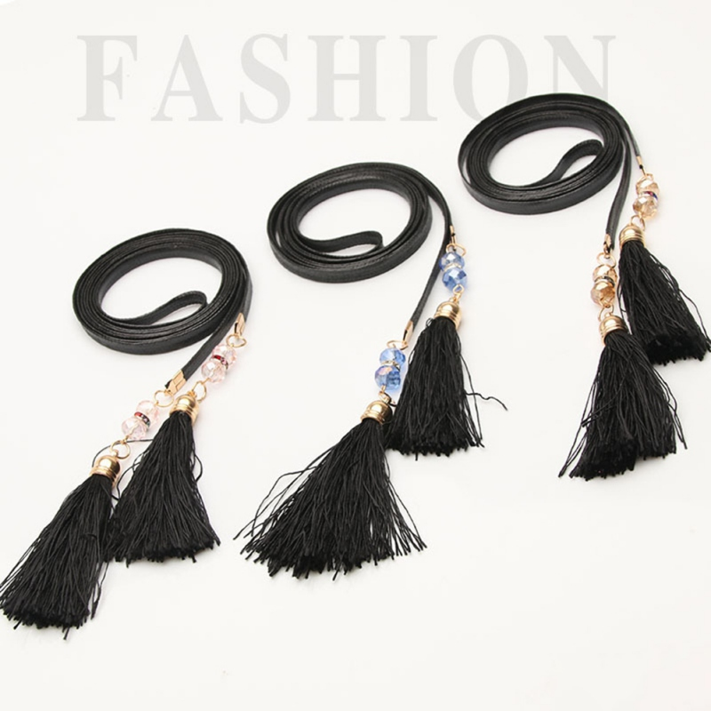 Ladies' grooming Belts Fashion dresses with crystal tassels and fine waistbands Joker dresses with small belts(China)