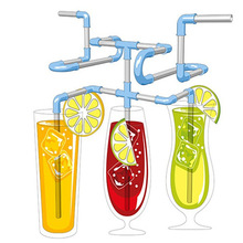 Crazy Flexible Drinking Straws Roligt Diy Halm för Kids Birthday Party Bröllop Julparty Decoration Supplies 21st / set