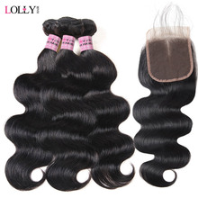 hot deal buy lolly malaysian body wave bundles with closure 3 bundles with closure 100% human hair bundles with closure non remy extensions