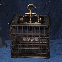 Ébano jaula de pájaro pájaro jaula de pájaro de bambú jaula de alambre de cobre-ojo pequeño rojo