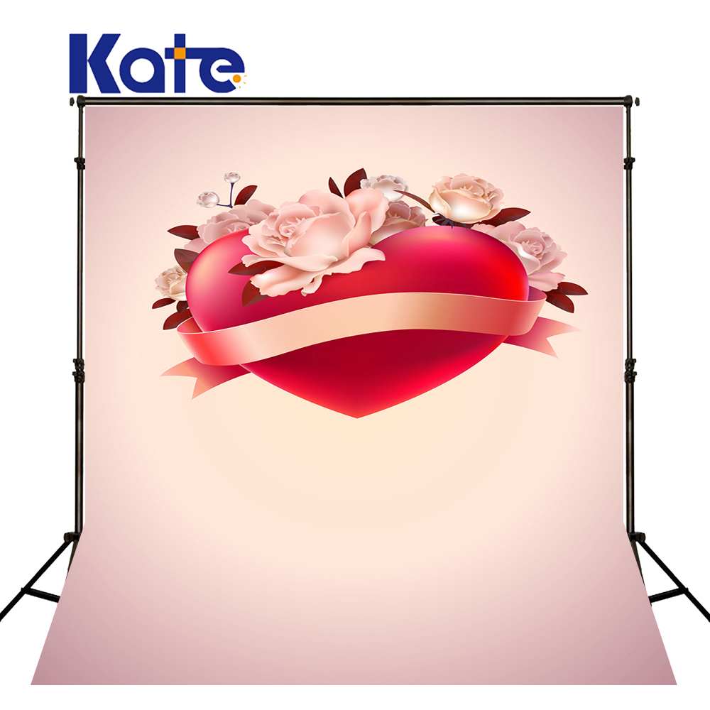 5x7ft Kate Valentine Photography Backdrops Red Love White Flowers Photo Background for Couple Studio Backdrop 8x10ft valentine s day photography pink love heart shape adult portrait backdrop d 7324