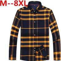 플러스 10XL 8XL 6XL 5XL 4XL 2017 새로운 남성 농축 모조 모직 격자 무늬 셔츠 옷깃 레저 긴 소매 셔츠 Camisa Masculina