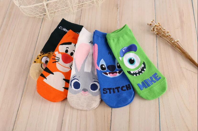 New Funny Ladies Cartoon Cotton   Socks   Crazed Animal Judy Rabbit Nick Stitch Clawhauser Stitch Mr.Q Tigger Women's Ankle   Socks