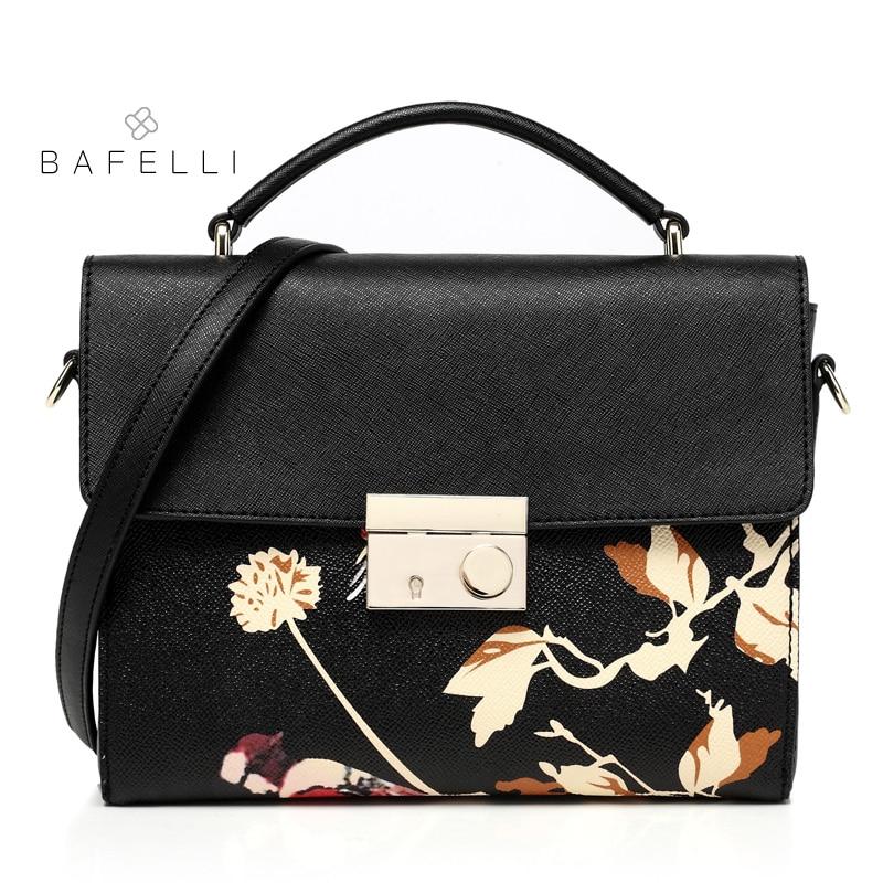 BAFELLI spring and summer split leather shoulder bag chinese style flower printing box bolsa feminina black women messenger bag spring and summer 2018 new chinese