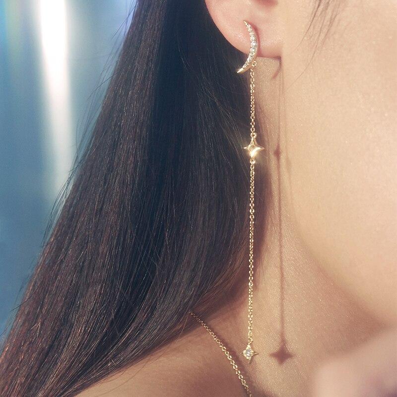 Silverwill 2018 conception brillante 925 argent sterling lune étoile boucles d'oreilles femmes élégant mode bling bijoux pour petite amie