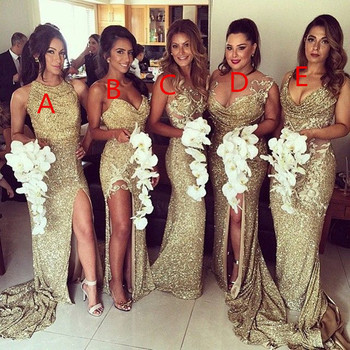 Sexy 6 Styles Mermaid Gold Bridesmaid Dresses Unique Backless Different Neckline Elegant Prom Gowns for Wedding Party