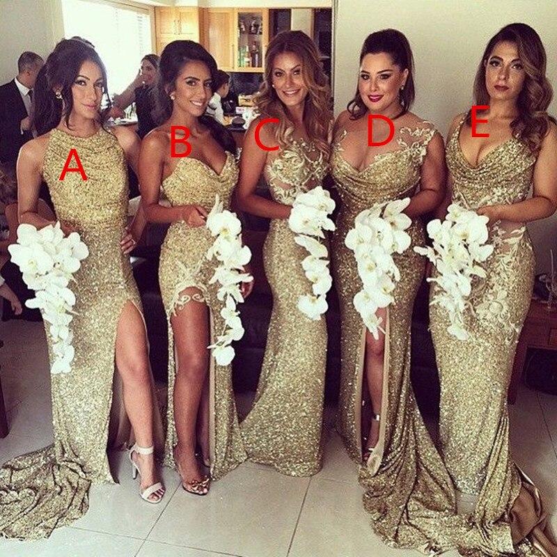 Sexy 6 Styles sirène or robes de demoiselle d'honneur Unique dos nu différent décolleté élégant robes de bal pour la fête de mariage