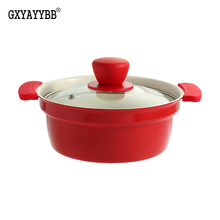 Korean 24CM Nonstick pan Soup pot Enamel non-stick pan Cookware Frying Pan Saucepan General Use for Gas and Induction Cooker цена и фото