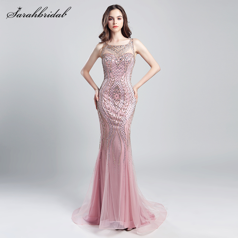 Dubai Rode De Soiree Illusion Evening Long Dresses Elegant Fustan i ri luksoz me kristal luksoz