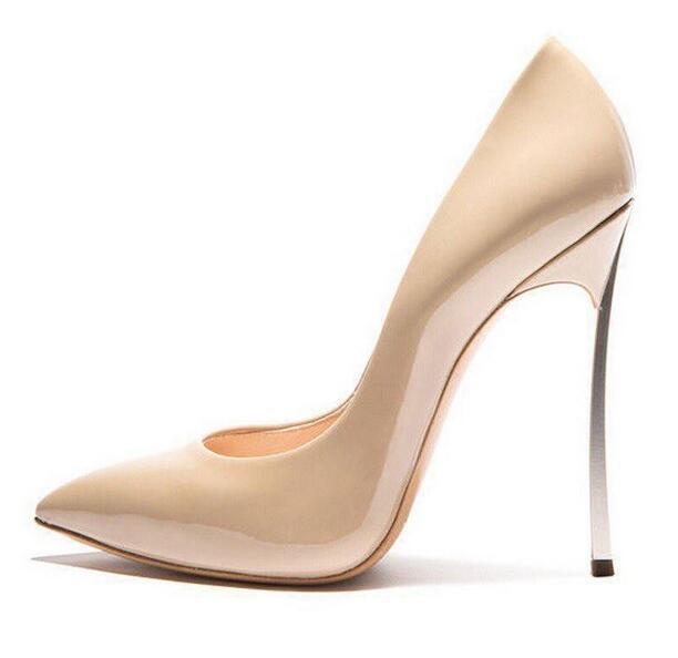 купить Big Sale Nude Patent Leather Blade Heel Pump Pointy Toe Metal Heel Dress Shoes Woman Spring Winter Party Shoes Stilettos Heels по цене 3331.2 рублей