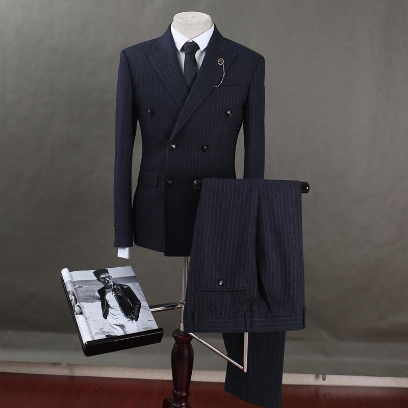 Floobe moda rayada 3 piezas rayado doble botonadura novio traje de boda novio esmoquin Formal trajes de negocios ropa Casual-in Trajes from Ropa de hombre    1
