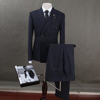 FOLOBE Terno Masculino Wool Black Double Breasted Groom Suit Wedding Suits Striped Suit Wedding Groom Tuxedo