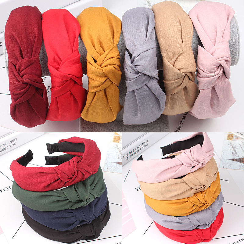 1PC Hot Sale Bow Knot Hairband Soft Cotton Comfortable Sweet Simple Girls Cloth Cross Solid Headband Gifts(China)