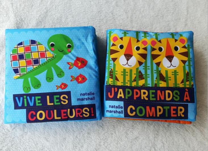 2pcs/lot French Cloth Book Cartoon Animal Cloth Book Early Educational Games Toy Christmas Birthday Gifts For Kids Children