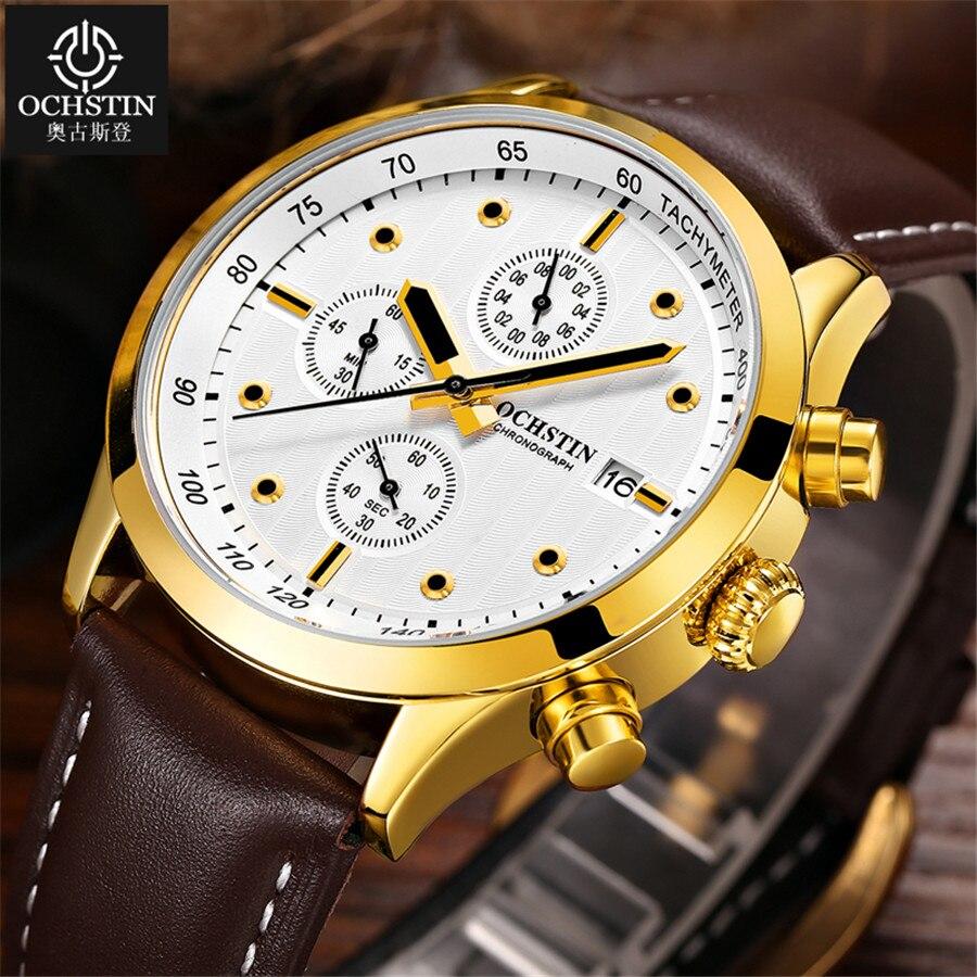 High quality Gold Men Watches Top Luxury Popular Brand Watch Man Quartz Golden Watches Leather Clock Men's Wrist Watch 2019
