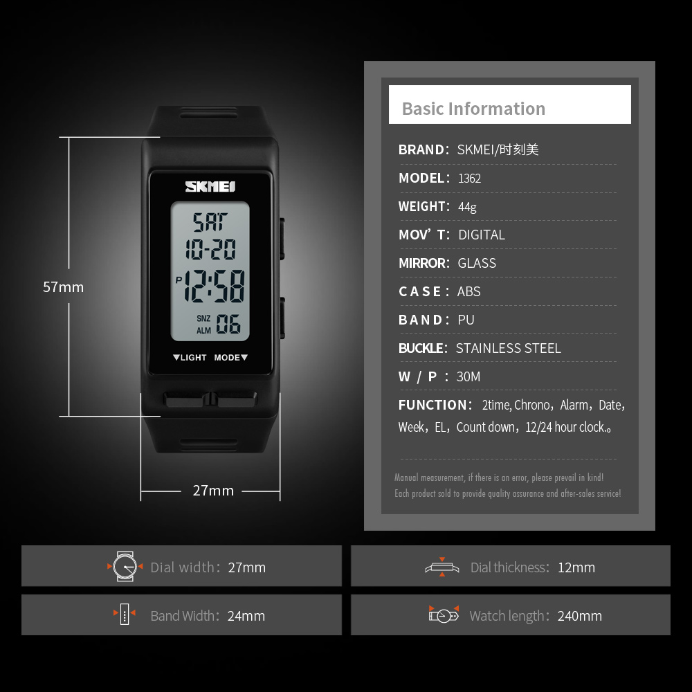 SKMEI 1362 Men Women Digital Watch Outdoor Sport 2 Time Waterproof  Multifunction Electronic Black Clock Hours Relogio Masculino -in Digital  Watches from ...