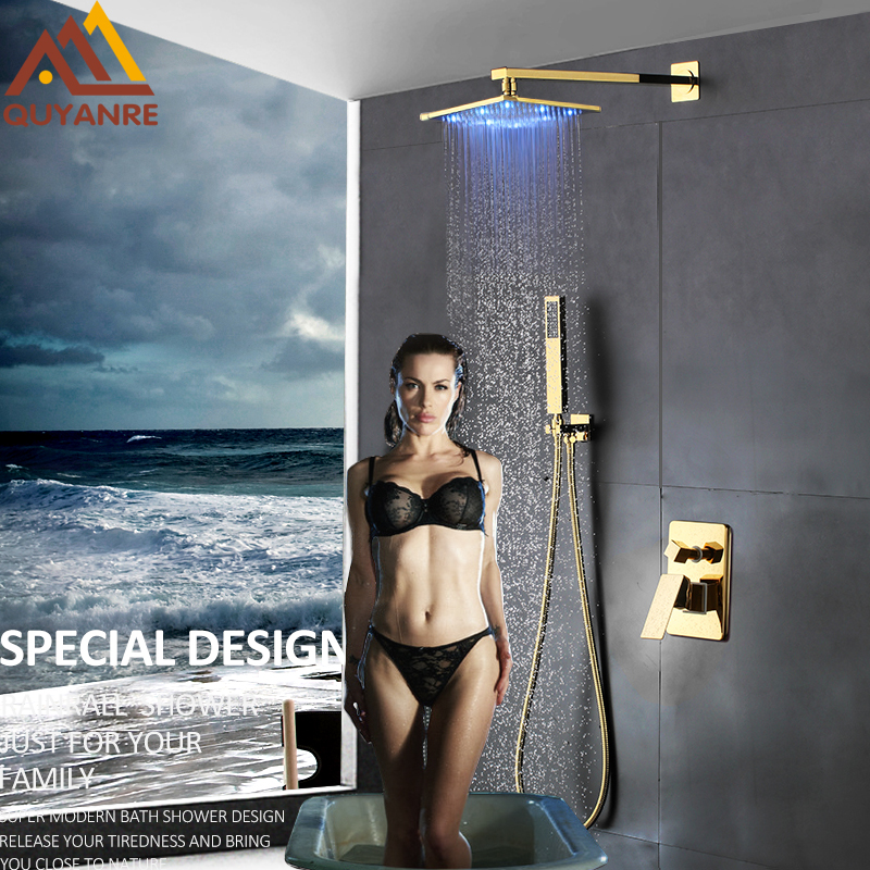 Quyanre LED Gold Shower Faucets Set Rainfall Golden Shower Head Single Handle Mixer Tap Bathroom Shower Faucet Wall Mount