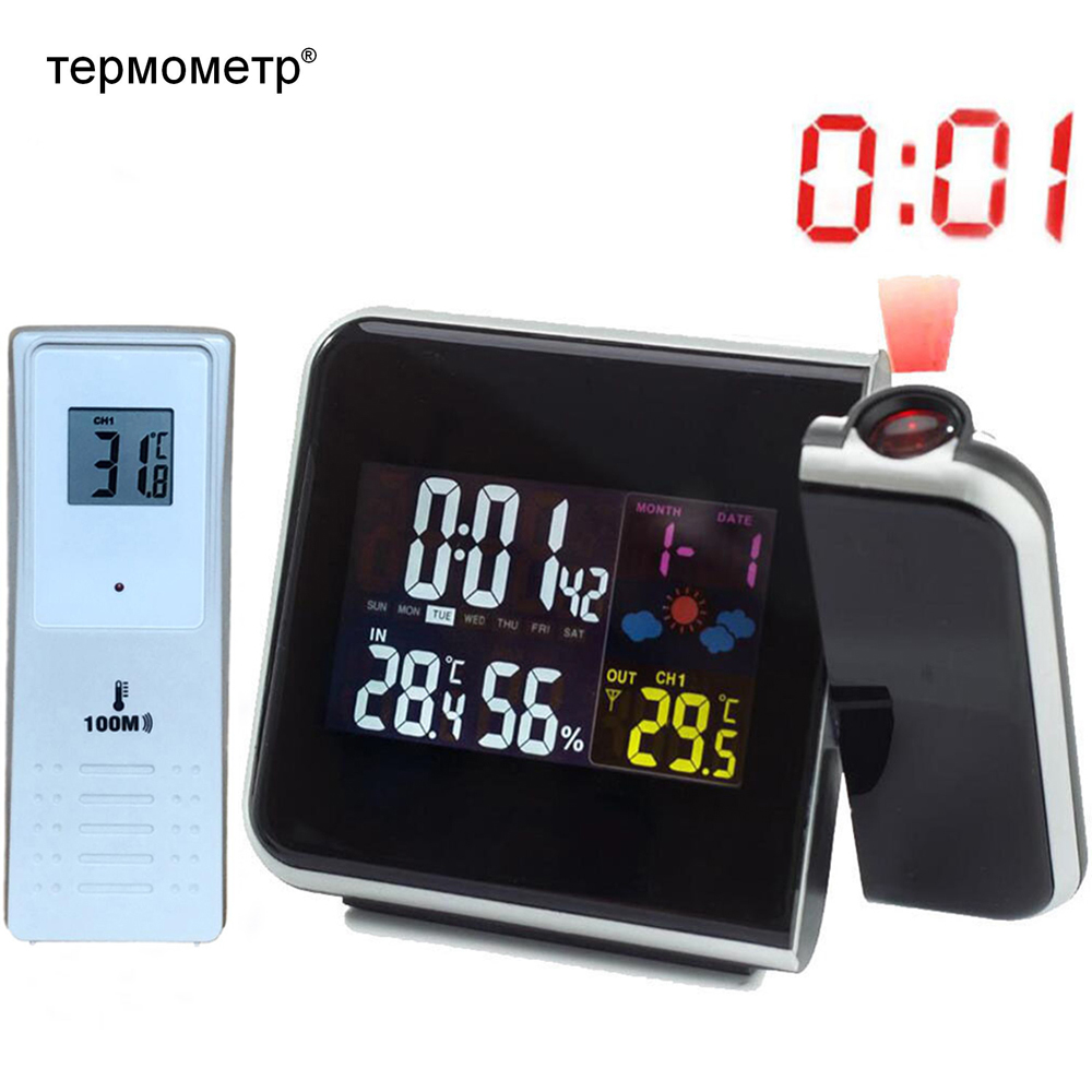 Digital Projection Alarm Clock Weather Station With Temperature Thermometer Humidity Hygrometer/Bedside Wake Up Projector Clock